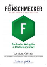 Der Feinschmecker 2021 ** GREINER eines der 500 besten Weingüter in Deutschland