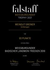 2018 Weißburgunder - 93 Punkte an der Spitze der falstaff TROPHY